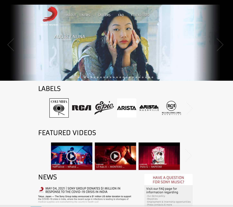 Sony Music verwendet WordPress