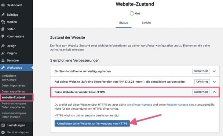 WordPress-Website über Site Health auf HTTPS umstellen