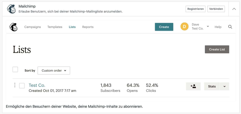 Im Backend von WordPress.com kannst du eine Verbindung zu Mailchimp herstellen