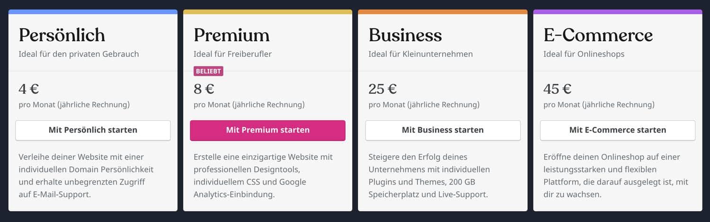 WordPress.com stellt dir 4 verschiedene Tarife zur Auswahl