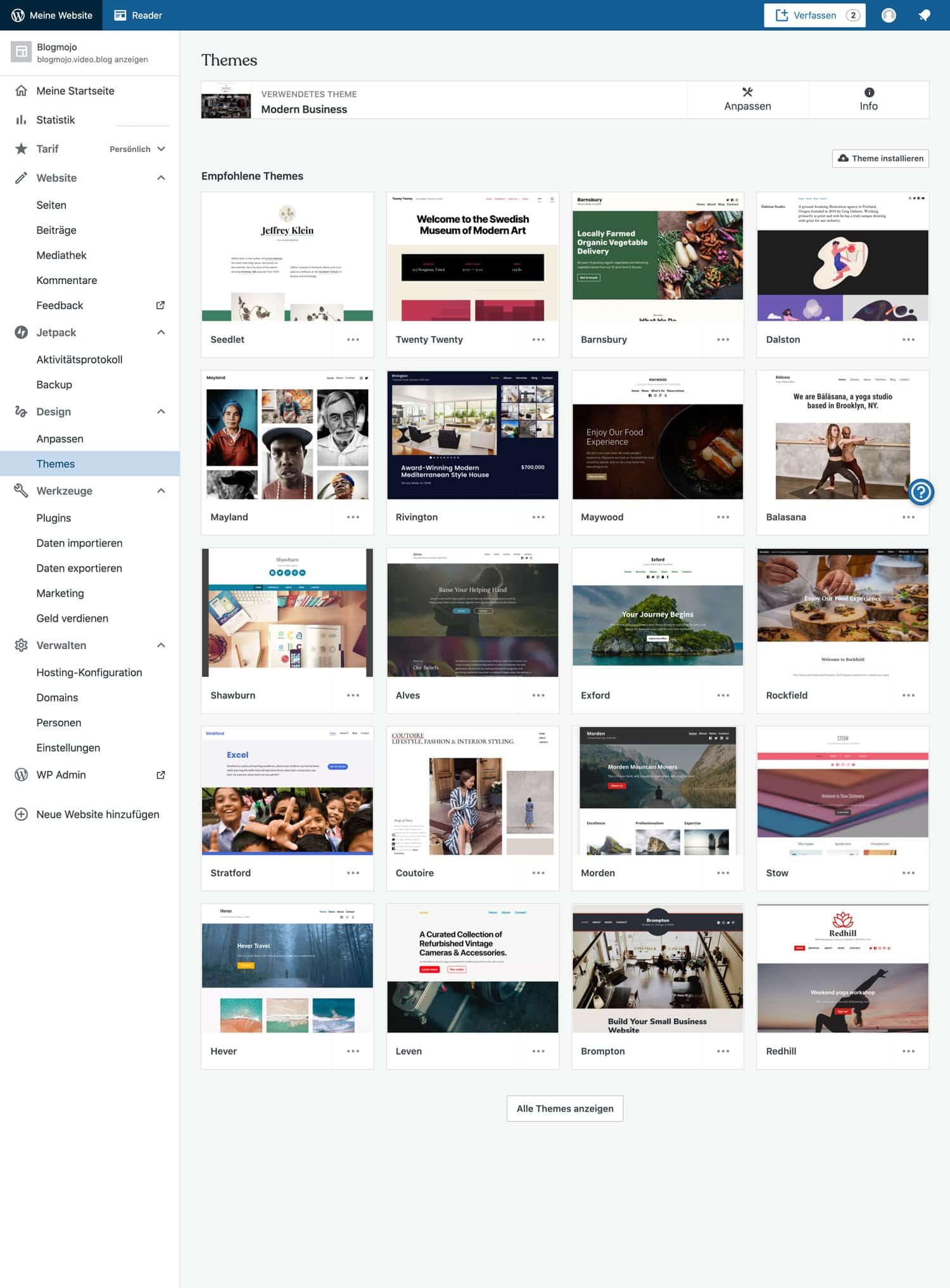 WordPress.com bietet dir eine gigantische Vielfalt an verschiedenen Templates