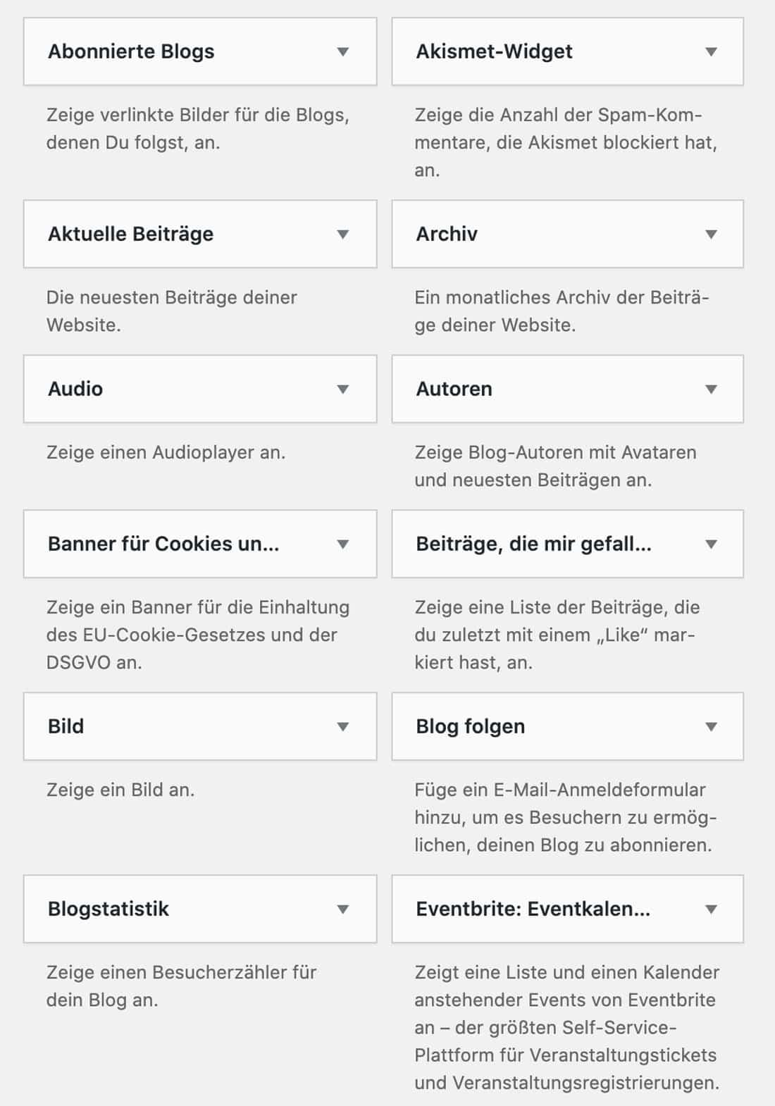 Im Footer kannst du bei WordPress.com verschiedene Widgets hinzufügen