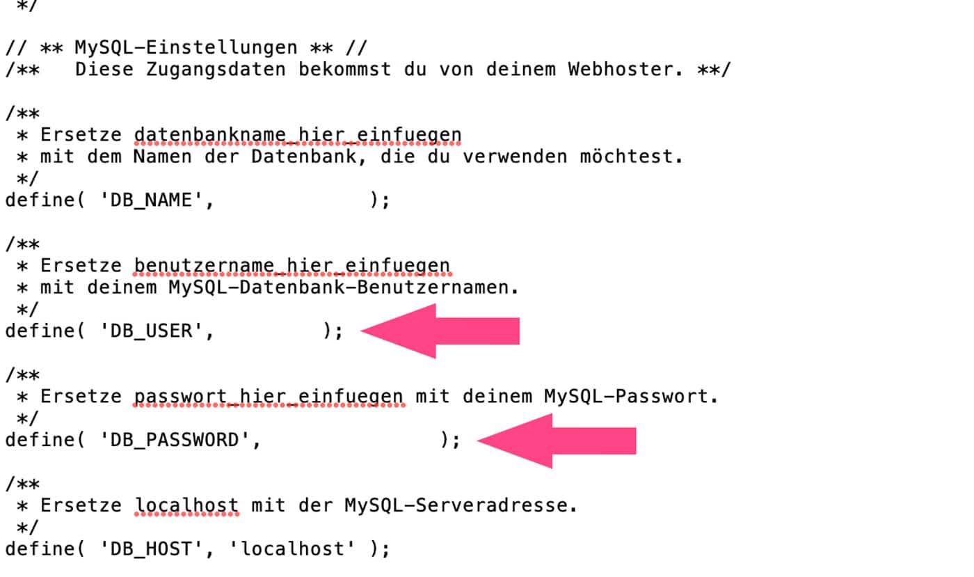 Das Passwort deiner Datenbank ist in der wp-config.php