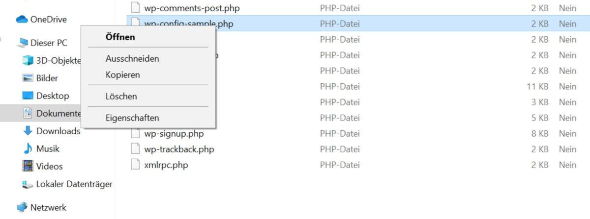 wp-config-sample.php lässt sich nicht umbenennen
