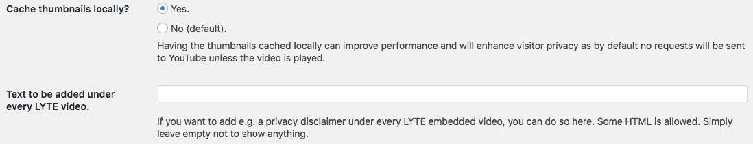 YouTube Lyte Datenschutz-Einstellungen
