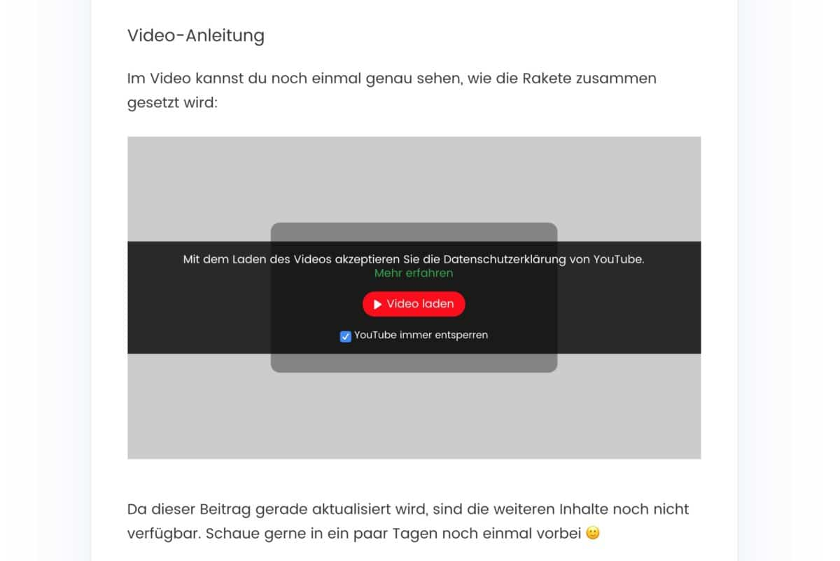 YouTube-Video, das der Content Blocker von Borlabs Cookie blockiert hat