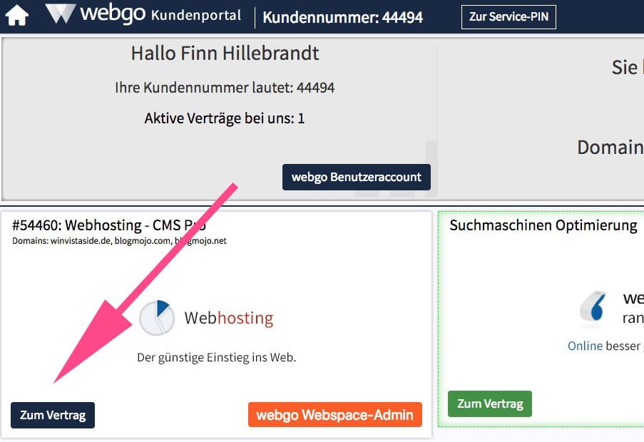 Zum Vertrag im webgo-Kundenportal